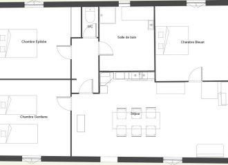 Plan de notre gîte la Fenière des hautes Chaumes situé dans le forez proche de Chalmazel